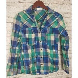 The Hanger Shirt Button Front Cotton Flannel smll